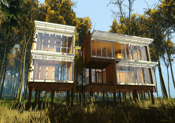 Real-time visualization of the Loblolly House, built with Cryengine 3. An early proof-of-concept architectural visualization in a game engine.