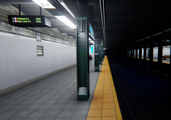 Realistically built the Eastern Parkway subway platform in Unreal 4, a real-time game engine.